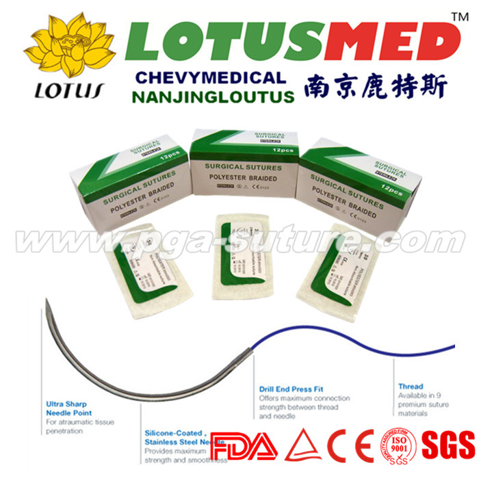 LOTUSMED Surgical Polyester Braided Suture